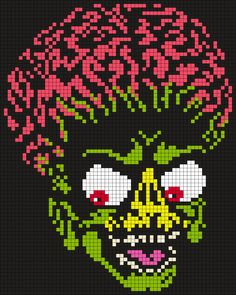 Mars Attack's Alien by Maninthebook on Kandi Patterns Kandi Patterns, Perler Patterns, Beading Patterns, Embroidery Patterns, Beaded Cross Stitch, Cross Stitch Embroidery, Perler Bead Art, Perler Beads, Cross Stitch Designs