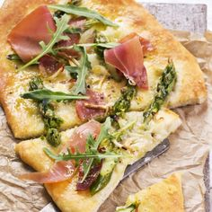 Focaccia With Asparagus Tips and Prosciutto