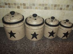 Primitive Crackle Painted Set of 4 Canisters ~Black Stars ~Country Kitchen Decor