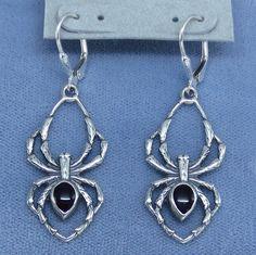 Big Black Widow Spider Leverback Earrings - Sterling Silver - Halloween - Goth - 251499