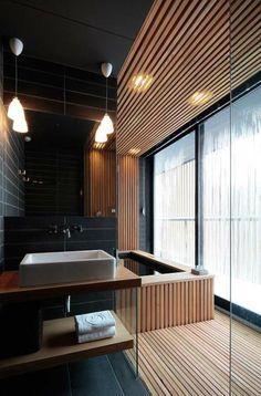 Wood floor ceiling bath