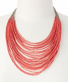 $9.99 This Coral Multistrand Beaded Necklace is perfect