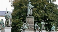 Luther Memorial in Worms. In 1521 Luther defended his teachings before the emperor Charles V of the Holy Roman Empire and the Diet of Worms. He was declared an outlaw and his literature was banned. The memorial in Worms shows that Luther had supporters as his statue is surrounded by fellow campaigners and pioneers of the Reformation. It is regarded as the world's largest reformation monument.