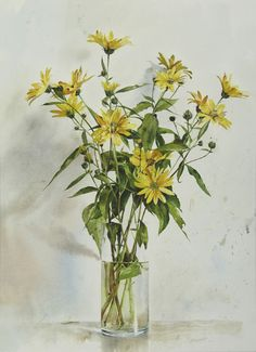 by Atanas Matsoureff, Watercolor,''Yellow Flowers''  2007, 44 x 60cm