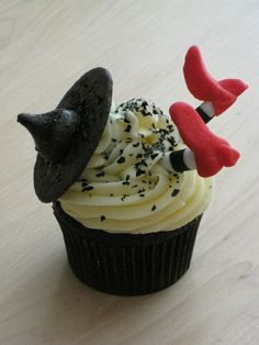Wicked Witch cupcakes. The link was deleted but you can figure it out from the picture.