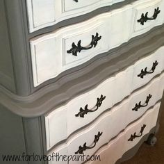 Before and After : Thomasville French Provincial Chest of Drawers in French Linen and Old White - shabby chic distressed DIY upcycle tutorial Annie Sloan Chalk Paint project