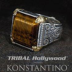 Konstantino Spartan Warrior Tiger Eye Silver Mens Ring