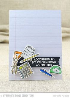 Seven Office Supplies Card by Barbara Anders featuring the Get Down to Business stamp set and Die-namics #mftstamps
