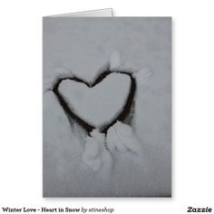 Winter Love - Heart in Snow Greeting Card #love #valentine #gift #shopping