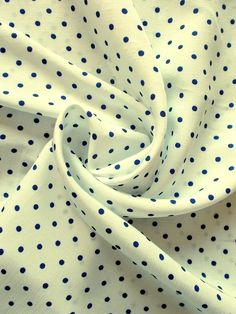 "Ivory /& Red Polka Dot Polyester Soft Drapey Fabric By the Metre 60/"" wide"