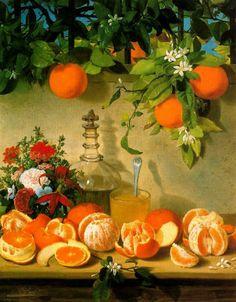 Rafael Romero Barros - Bodegón de naranjas - 1863  Rafael Romero Barros (30 May 1832, Moguer - 2 December 1895, Córdoba) was a Spanish painter who often worked in the Costumbrismo style.