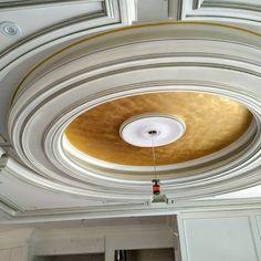 Gold leaf ceiling. #privemoulding #customceilings #plastermoulding