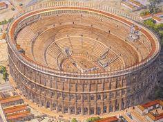 Italy - Roma (Rome) - Republic under Nero - Amphitheater Architecture Antique, Ancient Greek Architecture, Roman Architecture, Architecture Drawings, Historical Architecture, Ancient Rome, Ancient History, Villa Hadriana, Ancient Architecture