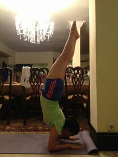 Pincha Mayurasana. Arm balance is not my strength. Most of the times it ends up with a good old fall.