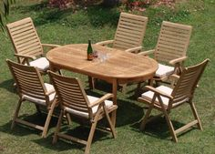 """New 7 Pc Luxurious Grade-A Teak Dining Set - 94"""" Oval Table And 6 Reclining Arm Chairs [Model:AL6] by WholesaleTeak. $1699.99. You can lengthen the table with minimal effort by simply opening the butterfly leaf extensions.. The chairs are reclining comfortable chairs.. ADD SUNBRELLA FABRIC CUSHIONS BY SEARCHING """"Wholesaleteak Dining Cushion"""" ON AMAZON, CUSTOM MADE FOR THESE STYLE CHAIRS. Chairs folds for easy storage. Dimension: 22"""" Width x 23"""" Depth x 42"""" Height....."""