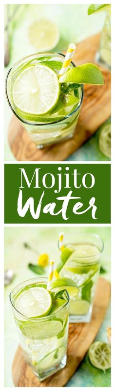 This Mojito Water is a refreshing infused water with bright limes and cool mint - make it in minutes! This Mojito Water is a refreshing infused water with bright limes and cool mint - make it in minutes! Smoothies, Healthy Smoothie, Healthy Drinks, Smoothie Recipes, Infused Water Recipes, Fruit Infused Water, Fruit Water, Infused Waters, Mint Water