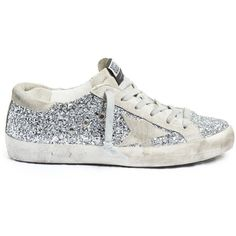 Golden Goose Deluxe Brand Super Star glitter-embellished low-top... ($389) ❤ liked on Polyvore featuring shoes, sneakers and silver