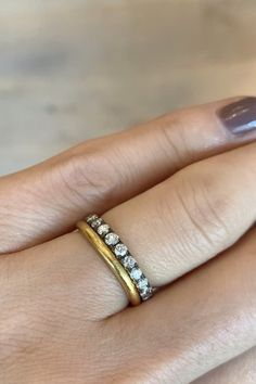 Pin by Erstwhile Jewelry on Wedding Bands [Video] in 2020 Plain Gold Wedding Bands, Unusual Wedding Rings, Stacked Wedding Rings, Wedding Ring Styles, Beautiful Wedding Rings, Wedding Ring Designs, Wedding Band Sets, Wedding Rings For Women, Diamond Wedding Rings