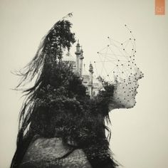 """By: Dan Mountford, from series """"The World Inside Us."""" These double exposure portraits are created in camera, with a little bit of post production work in Photoshop. So beautiful. Design Graphique, Art Graphique, Art And Illustration, Illustration Editorial, Vector Illustrations, Illustration Fashion, Landscape Illustration, Double Exposure Photography, Art Photography"""