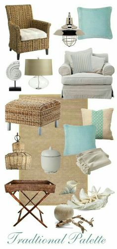 A Traditional Seaside Cottage living room with turquoise and sand color pallet - Home Professional Decoration Seaside Style, Seaside Decor, Beach Cottage Style, Beach Cottage Decor, Coastal Cottage, Coastal Decor, Coastal Style, Seaside Bedroom, Modern Coastal
