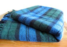 Faribault Wool Throw/Blanket-Blue and Green Plaid by MarketHome, $45.00