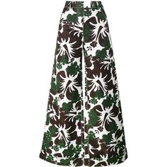 Rosie Assoulin B Boy tropical print trousers ($1,539) ❤ liked on Polyvore featuring pants, green, white trousers, green pants, rosie assoulin, tropical print pants and green trousers