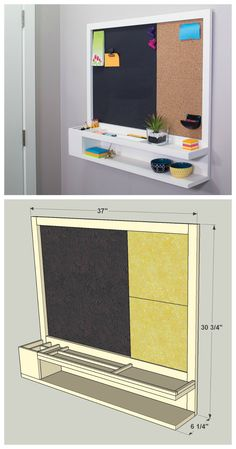 Make use of a blank wall in your entryway or kitchen with a message center that will keep the whole family organized and informed. It features storage, a magnetic chalkboard, and a cork board for pinning up notes. Find the FREE PLANS for this project and many others at buildsomething.com