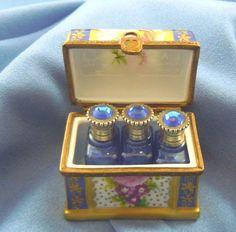 Limoges porcelain box perfume bottles
