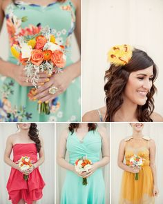 Solid color scheme and printed for the maid of honor