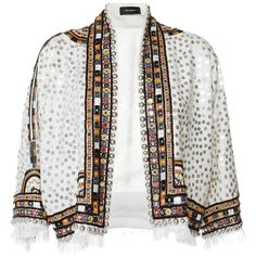 Isabel Marant Ecru Embroidered Baikal Jacket (12.260 BRL) ❤ liked on Polyvore featuring outerwear, jackets, casaco, coats & jackets, tops, white cropped jackets, embellished jackets, cropped jackets, embroidery jackets and white collarless jacket