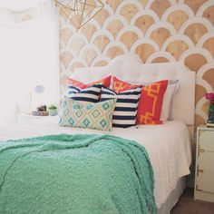 Learn how to do scalloped wall art for interior walls with this great DIY project by Mica Hardware. Plywood Panels, Paint Markers, Interior Walls, Fun Projects, Hardware, Blanket, Wall Art, Diy, Painting