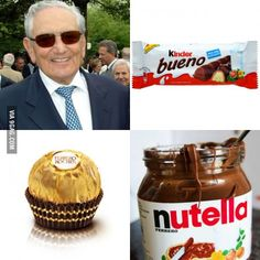 Michele Ferrero, the inventor of Nutella, Kinder, Ferrero Rocher passed away on Valentine's Day. RIP my good sir...