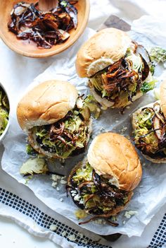 Grass-Fed Burgers with Roasted Brussels Sprouts and Crispy Shallots / Bev Cooks