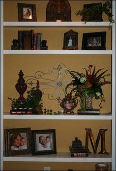 decorating bookshelves love the integration of the wooden letter - Decorating Bookshelves