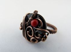 Wisdom & Passion  Copper Wire Wrapped Ring With by SkyAndBeyond, $48.00
