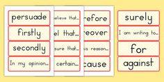 Australia - Persuasive Writing Word Cards