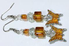 Dangle Earrings Orange Butterflies Charm bead by B4Jjewelrydesigns