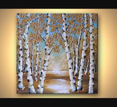 Original Art Palette Knife Heavy Impasto Texture Birch Tree Painting, Abstract Landscape, Contemporary Aspen Tree Artwork 20x20 Wall Decor on Etsy, 139,04 €