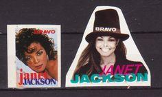 JANET JACKSON USA MUSIC 2 RARE BRAVO SMALL VINTAGE OLD STICKERS R16826