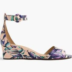 J.Crew Womens Laila Leather Wedges In Floral (Size 7 M)