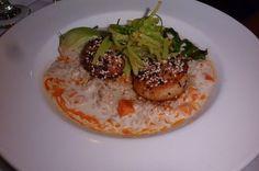 Sesame Scallops, Jasmine Rice, Curry Broth