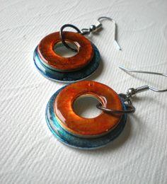 Hardware Earrings Orange and Blue Washer by MaddDoggofTomorrow