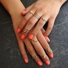 Mid Coil Ring in Gold, V Shaped Mid Ring in Silver, multiple rings, peach nail polish. #jewelry #accesories