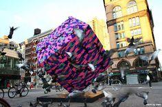 Street Artist Olek Crochet-Bombs Astor Place Cube in New York City