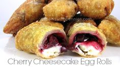 Cherry Cheese Cake Egg Rolls!  Crispy egg roll shells filled with a creamy no bake cheesecake & cherry pie filling!