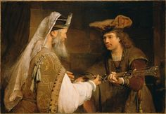 GELDER, Aert de Dutch Baroque Era (1645-1727)_Ahimelech Giving the Sword of Goliath to David about 1680s [Aert de Gelder, a pupil of Rembrandt, remained faithful to his master. In this painting the artist depicted a rather unknown biblical story (I Samuel 21). David, poor and alone, was fleeing from King Saul. He took refuge with the priest Ahimelech, whom he asked for bread and a sword with which to defend himself. The priest gave David the sword of Goliath.]