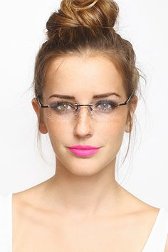 Rimless 'Governess' Skinny Clear Glasses - Gold #1242-2