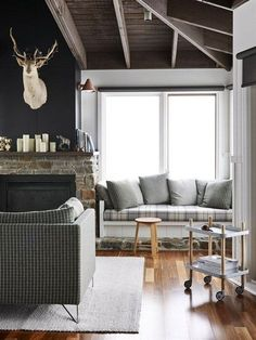 modern rustic decor with charcoal grey walls | visit lampsplus com