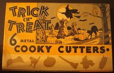 Vintage Halloween Trick Or Treat 6 Metal Cooky Cutters COOKIE Witch Bat Cat Owl