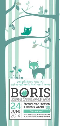 Baby Boris #geboortekaartje #birth announcement #bos #forrest